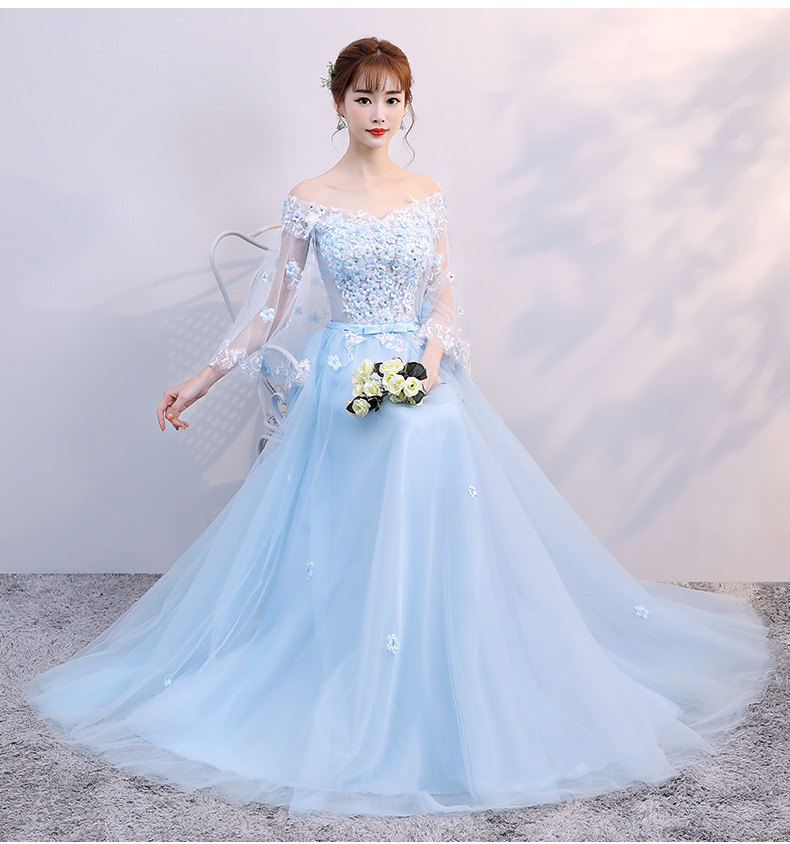 Lace Luxury Royal Wedding Dress Light Blue party Dress with Tulle Sleeves Chic Tulle Bride Dress for Wedding Party in Wedding Dresses from Weddings Events