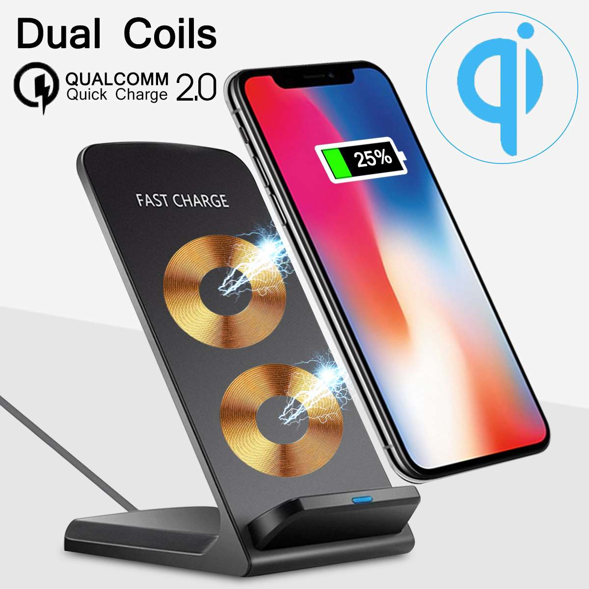 10W 2 Coils Qi Wireless Fast Charger Stand Phone Charging Dock Pad for iPhone XS MAX XR X 8 Plus For Samsung S9 S8 S7 Note 9 8
