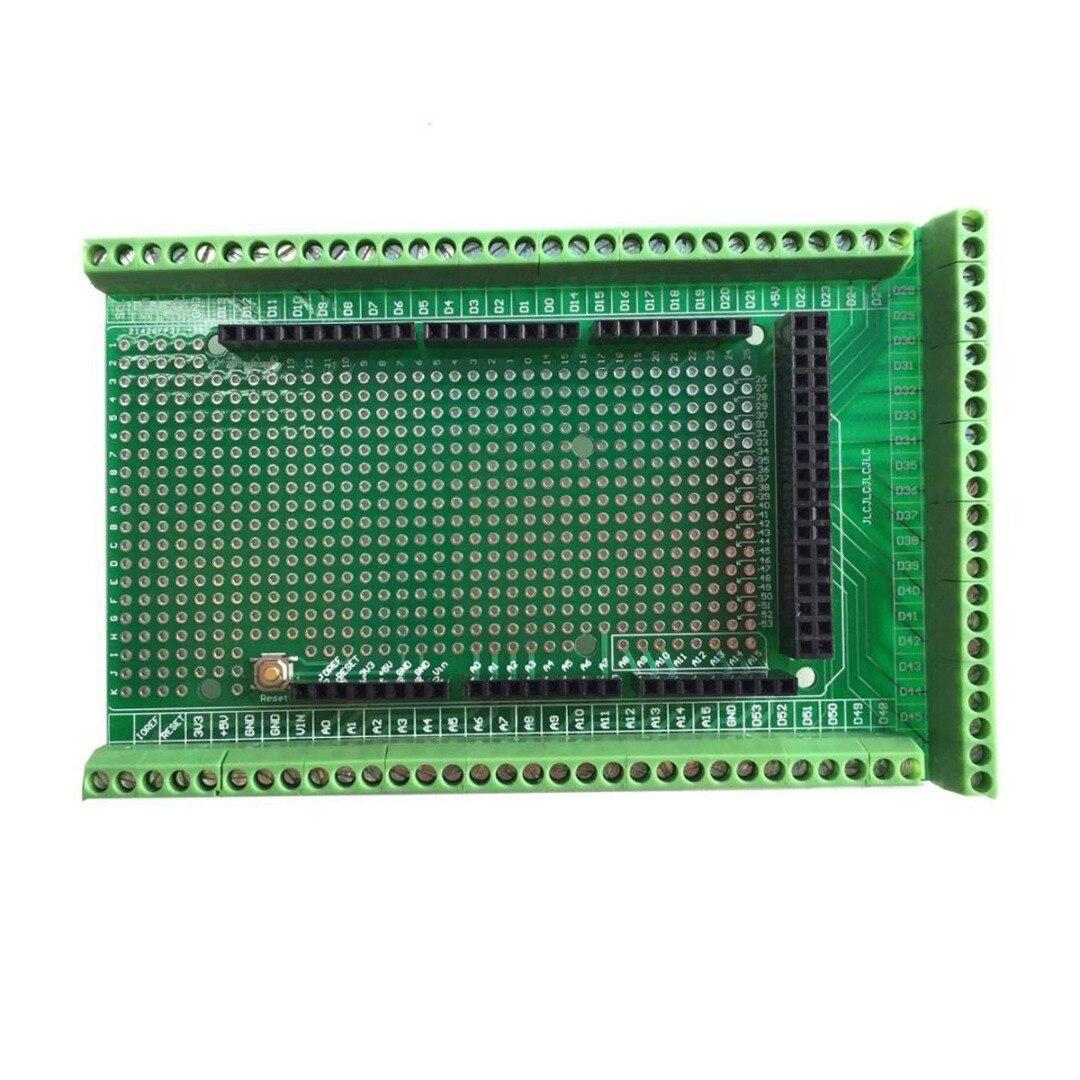 Kit de panneau de bouclier de bornier de vis Prototype de carte PCB Double face pour carte dextension de MEGA-2560Kit de panneau de bouclier de bornier de vis Prototype de carte PCB Double face pour carte dextension de MEGA-2560