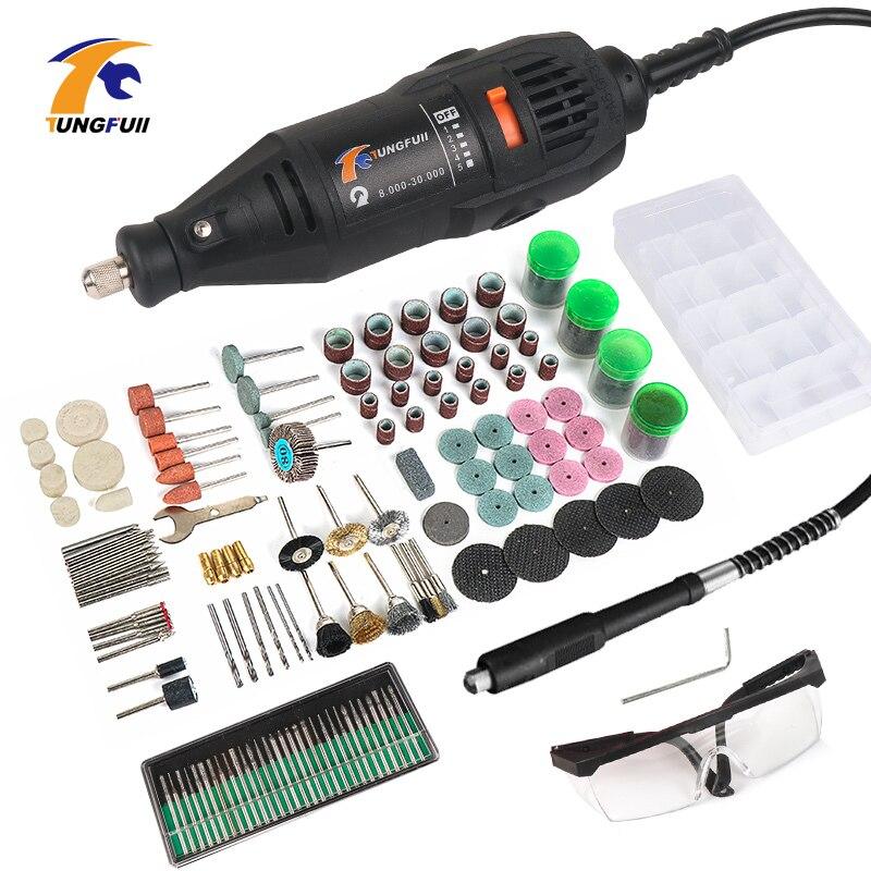 Tungfull Perceuse Électrique Outil Rotatif Mini Perceuse Avec Arbre Flexible 192 PC Accessoires Outils Électriques pour Dremel 3000 4000