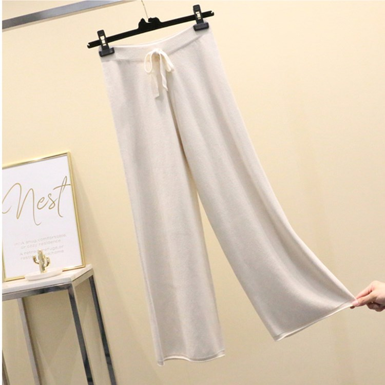 5 Colors Solid Color High Waist Knit Wide Leg Pants Casual Female Autumn And Winter Tie Waist Loose Pants