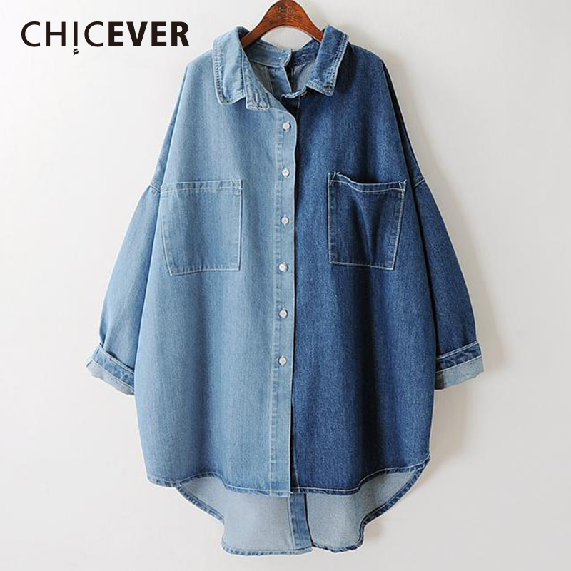CHICEVER Denim Women's Shirts Blouses Tops Long Sleeve Loose Big Size Women Shirt Clothes 2019 Autumn Fashion Casual New