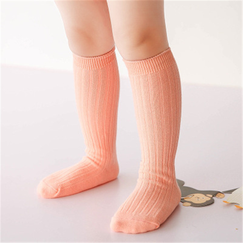 New Baby Girls Cotton Knee High Socks Solid Candy Color Kids Toddler Double Needle Short Socks For Children 2018