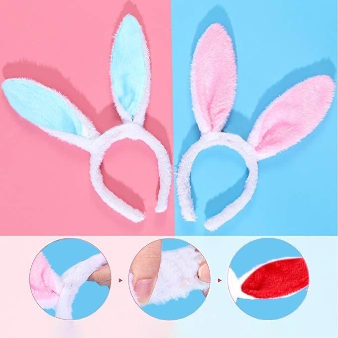 6pcs Easter Rabbit Ears Headband Bunny Headbands Women Hair Bands Ribbon Plush Fluffy Party Prop Headwear Accessories