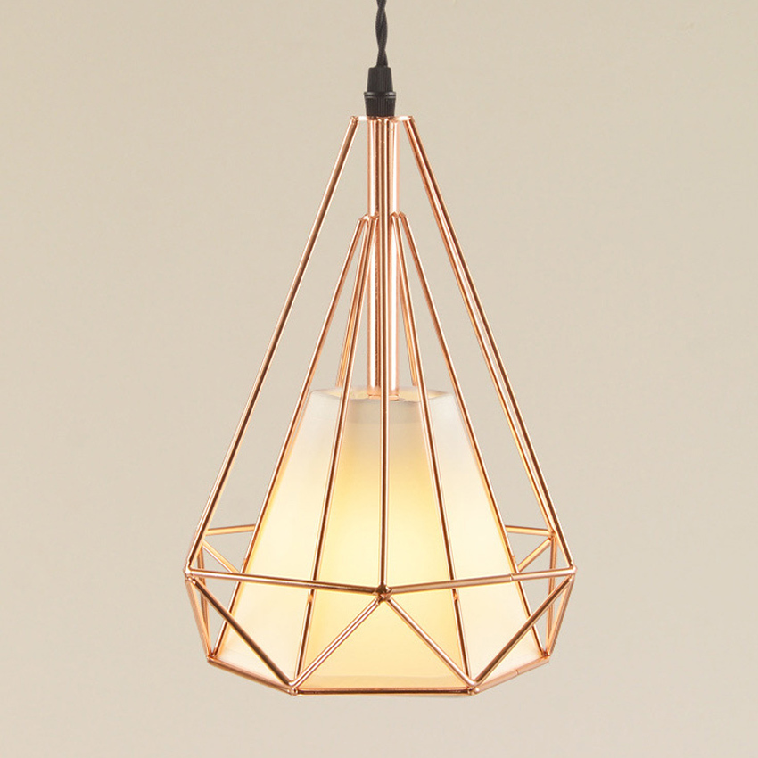 Modern plated rose gold pendant lights art dining living room Vintage diamond birdcage pendant lampa restaurant lighting fixture