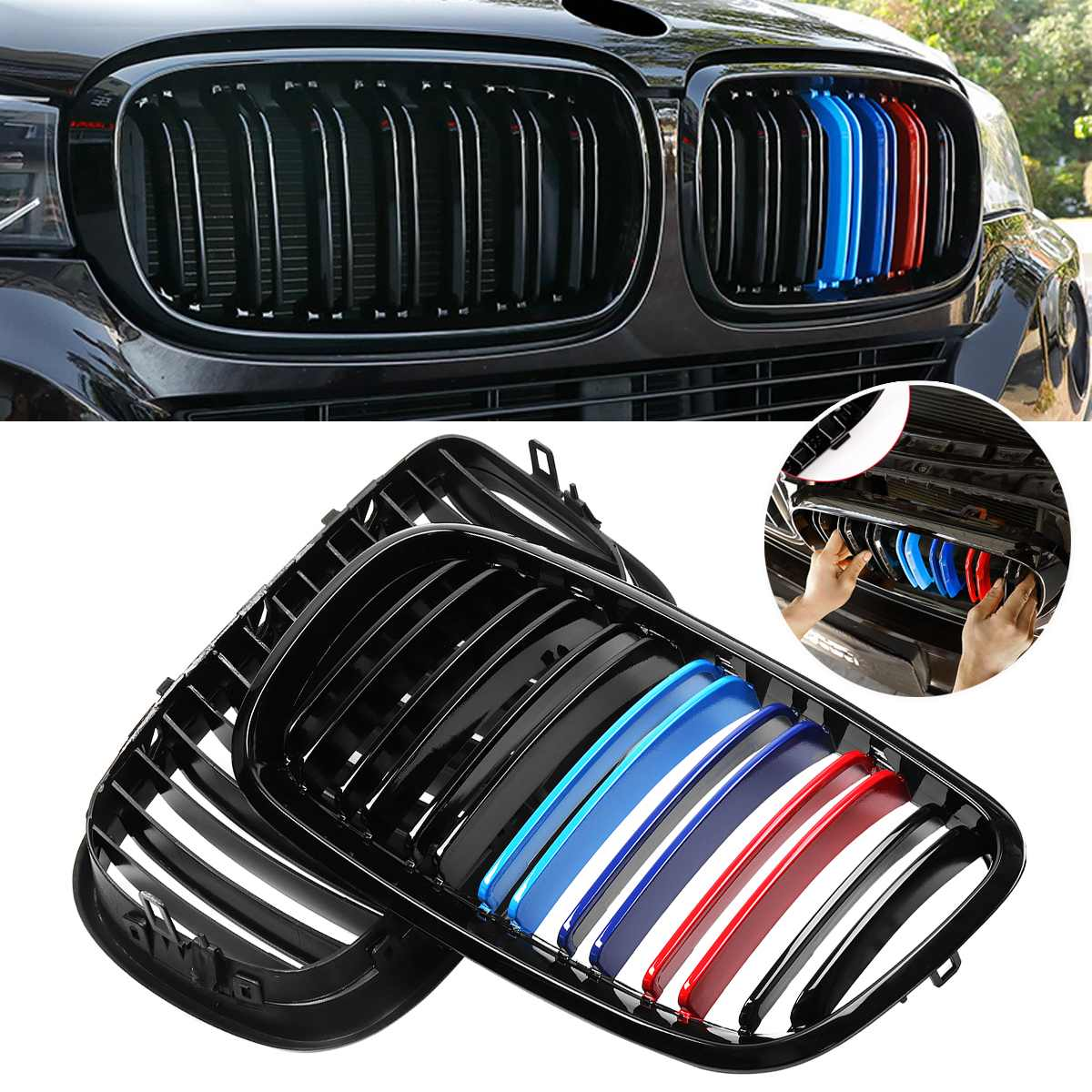 A Pair Car Front Bumper Grille Grill Cover Trim Kidney For 2007 2013 For BMW X5 X6 E70 E71 Glossy Black M Color