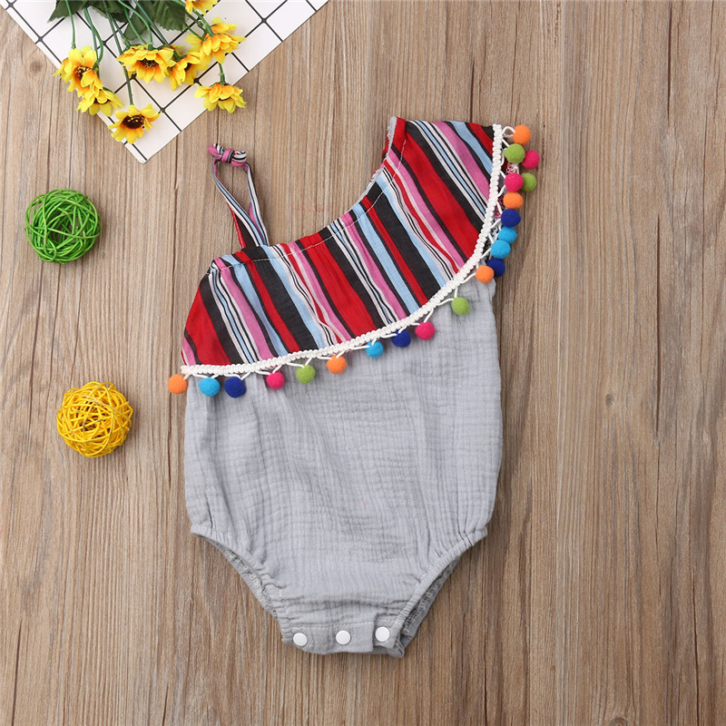 3-24M Toddler Baby Girls Sleeveless One-Pieces Tassel Bodysuit Playsuit One Shoulder Cotton Cute Girl Sunsuit