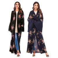 Abaya Dubai Muslim Open Front Cardigan Flower Print Women Long Dress Bell Sleeve Islamic Robe Maxi Jilbab Kaftan Kimono Ramadan