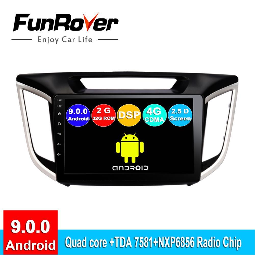 Lecteur multimédia d'autoradio FUNROVER 2 din android 9.0 pour Hyundai Creta ix25 2015-2018 dvd gps navigation navi stéréo 2.5D DSP