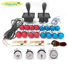 2 Players Arcade joysticks DIY Kit Zero Delay USB Encoder American Style Joystick 28mm Push Button PC Mame Raspberry pi 1 2 3