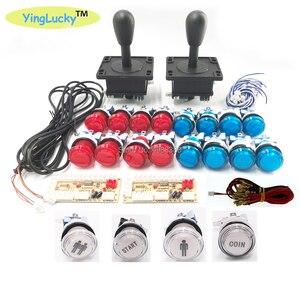 Image 1 - 2 Players Arcade joysticks DIY Kit Zero Delay USB Encoder American Style Joystick 28mm Push Button PC Mame Raspberry pi 1 2 3