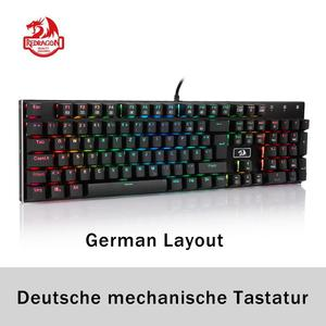 Image 1 - Redragon K556 German Layout Mechanical Gaming Wired Keyboard Brown Switch RGB LED Backlit 104 Standard Keys for Gamer Office