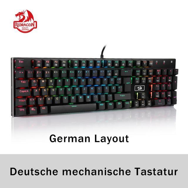 Redragon K556 German Layout Mechanical Gaming Wired Keyboard Brown Switch RGB LED Backlit 104 Standard Keys for Gamer Office