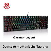 Redragon k556 teclado de jogo mecânico, layout alemão, interruptor marrom, led rgb, retroiluminado, 104 teclas padrão para jogos, escritório