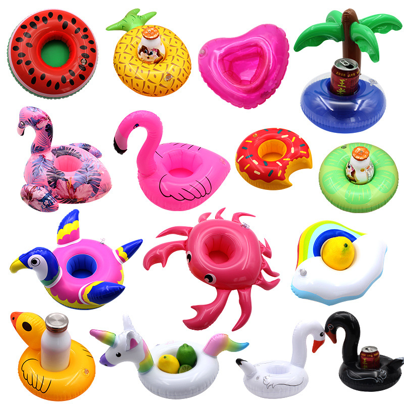 12 Pieces Inflatable Drink Holder Flamingo Drink Floats Reusable Inflatable Cute Animal Cup Coasters Pool Cup Holders for Summer Swimming Party