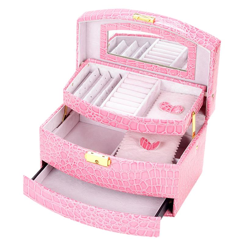 GUANYA Large Jewellery Gift Box Storage Organizer Bracelet Ring Necklace Display Case Color:Pink