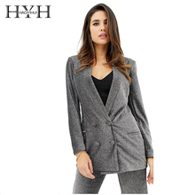 HYH HAOYIHUI Regular Solid Color Simple Slim Back Double-Breasted Blazer
