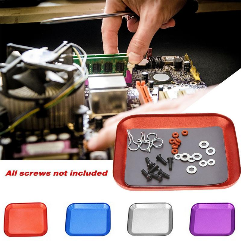 Metal Aluminium Alloy Screw Tray With Magnetic Pad Plate For RC Crawler Car Boat Drone Quadcopter RC Model Repair Tool Part