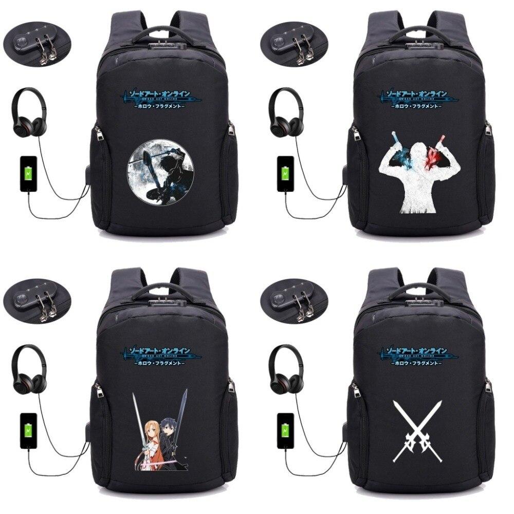 Anime épée Art en ligne sac à dos USB charge pochette d'ordinateur hommes conception Anti voleur voyage étanche école sac à dos 16 style