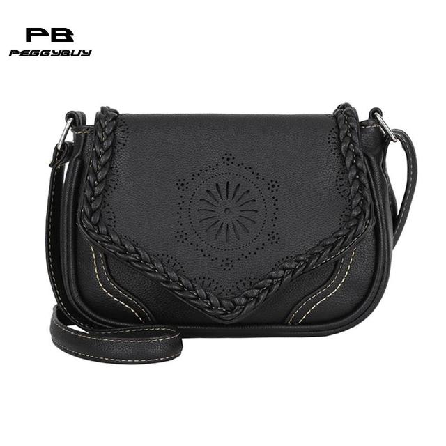571b916b7027 Vintage Women Shoulder Bag Pu Leather Crossbody Bag Hollow Out ...