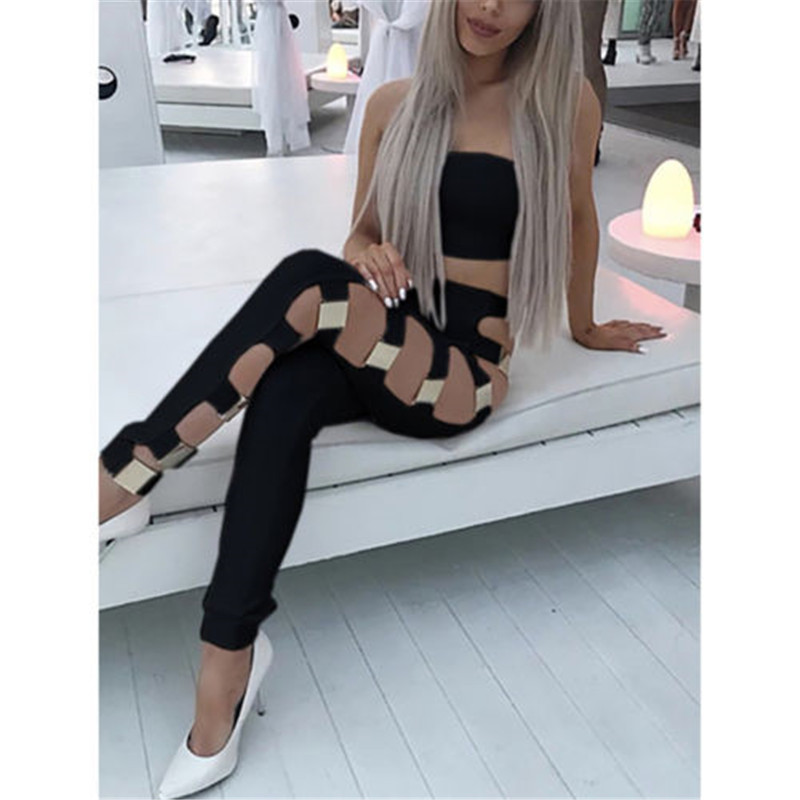 Women Sexy Hollow Out Skinny Bodycon Ripped Long Pants High Waist Elastic Stretch Side Lace Up Jeans Clubwear Pencil Trousers