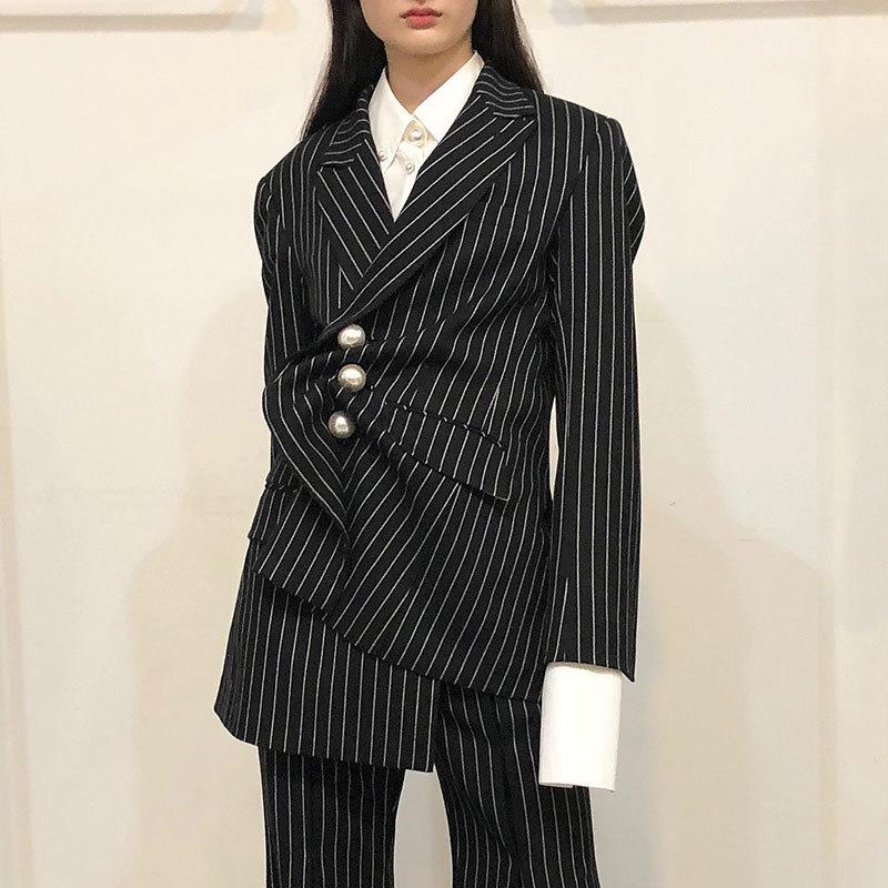 Navy Blue Couture Shengpalae down Vintage Turn Printemps 2019 Noir Nouveau Manches Manteau striped À Hauts Femmes Personnalité Longues Perles Rayé Fi464 Col zzHR4qx