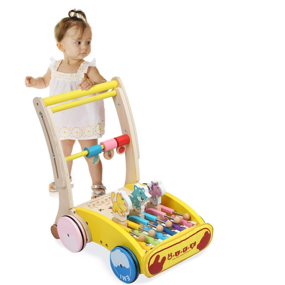 Haute qualité bébé apprentissage marche marcheur en bois main pousser voiture jouet pour enfant en bas âge enfants en bas âge Protection pour l'équilibre sécurité