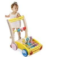Anne ve Çocuk'ten Yürüteçler'de Yüksek Kaliteli Bebek Öğrenme Ahşap Yürüteç El itme araba oyuncak Yürümeye Başlayan Çocuklar Için Toddlers Koruma Denge Güvenlik