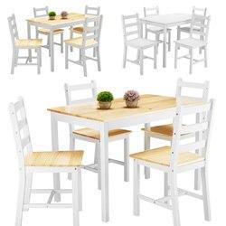 Conjunto de mesa y sillas de comedor contemporáneas de Panana, 4 Uds. De madera de pino, sillas cortas, soporte para beber café Natural de granja de jardín