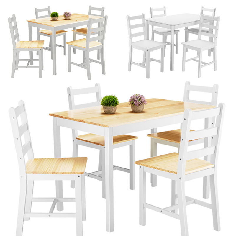 Panana Contemporary Dining Table And Chairs Set Pine Wood 4PCS Short Chairs Garden Farm Natural Coffee Drinking Stand