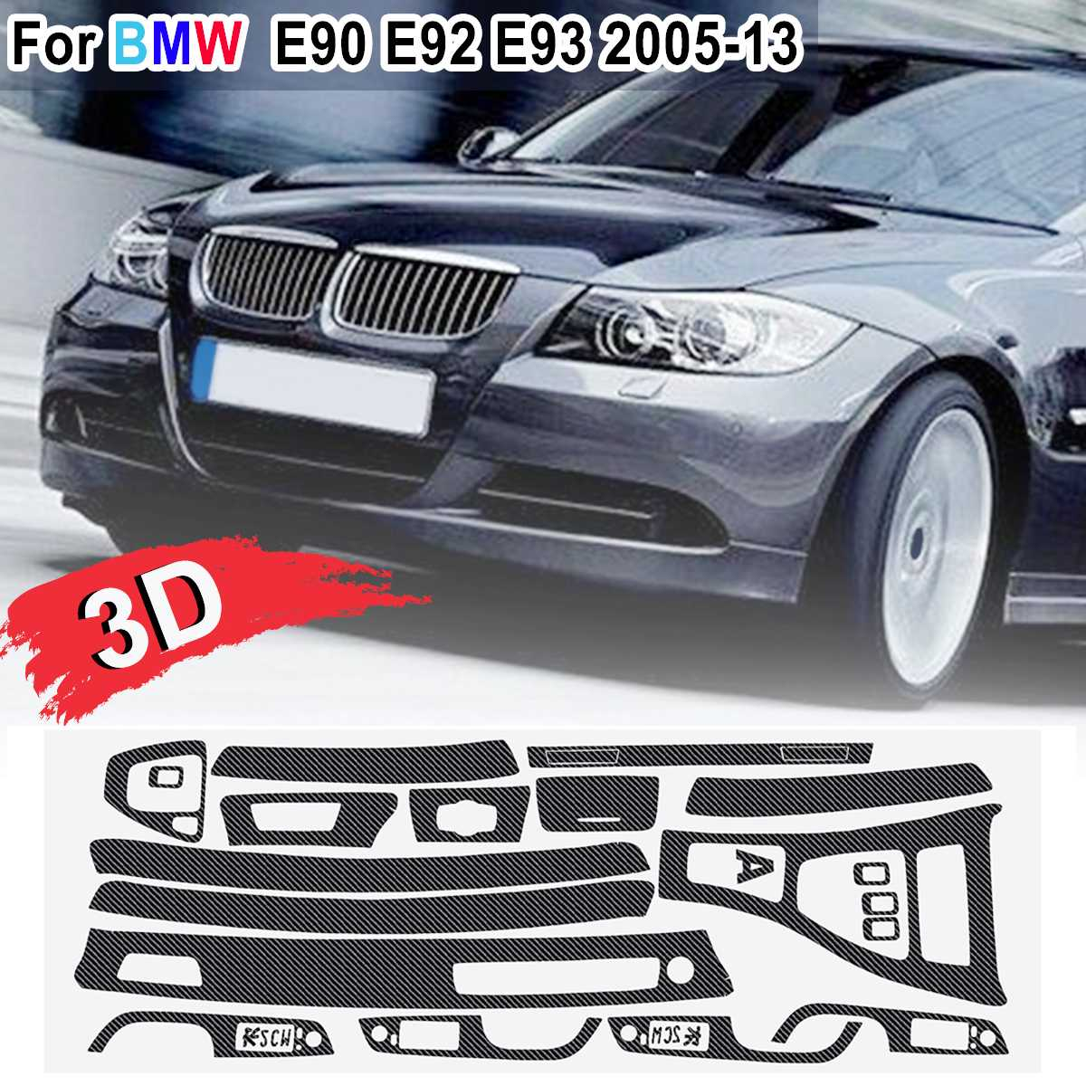 Image 4 - 15pcs Only RHD 5D Glossy/ 3D Matte Carbon Fiber Style Sticker Vinyl Decal Trim For BMW E90 E92 E93 2005 2013-in Car Stickers from Automobiles & Motorcycles
