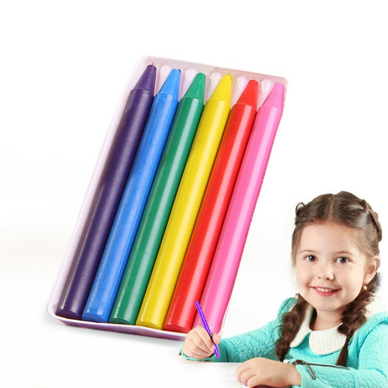 6 Colors Kids Toy Crayons Non-toxic Safety Children Color Crayons Baby Kids Color Crayons Drawing Gift Easy To Erase Educational