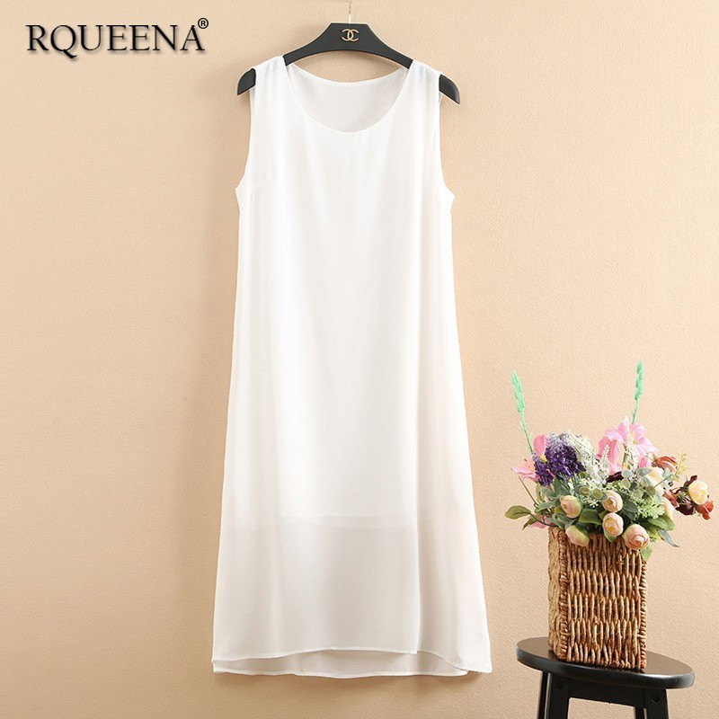 Rqueena Style coréen femmes robes blanc/noir/rouge/bleu/vert robe en mousseline de soie femmes robes décontracté longue robe débardeur CH002