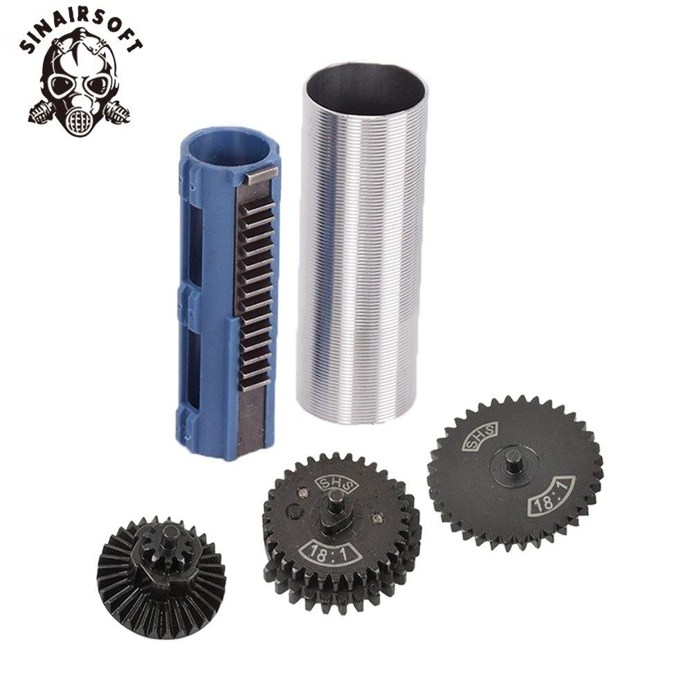 SHS 18:1 jeu d'engrenages buse cylindre ressort Guide 14 dents Piston adapté pour AEG Airsoft MP5 AK M4 M16 G36 accessoires Paintball - 6