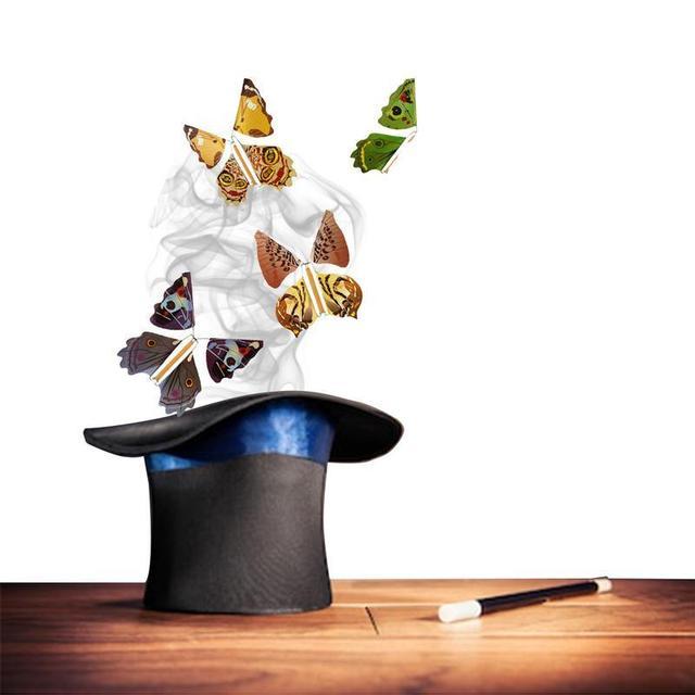 Magia voladora mariposa cambiar manos vacía libertad mariposa Primer plano trucos de magia niños Juguetes Divertidos Gadgets Color al azar