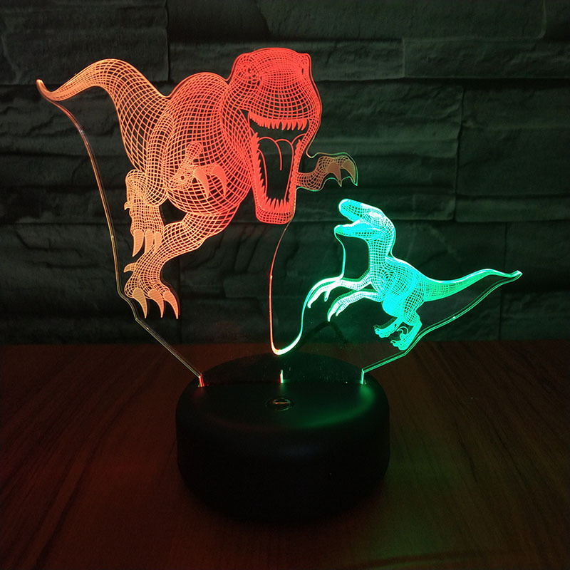 Tyrannosaurus Spike Led 3d Night Light Visual Creative Colorful Control Touch Usb 3d Light Fixtures Usb Led Lamp