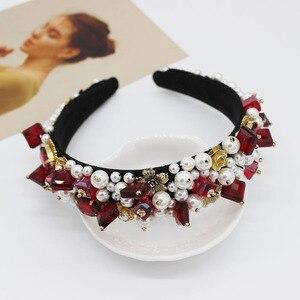 Image 5 - Jeweled Baroque Headband Women Wedding Bride Jewel Crystal Hairband Diamond Rhinestone Ladies Elegant Hair Accessories Headwear