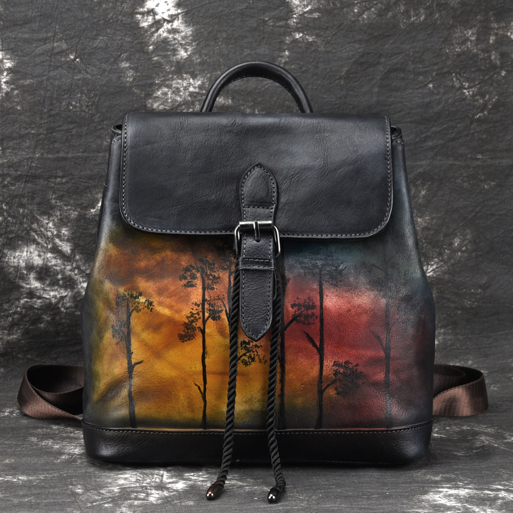 High Quality Genuine Leather Women Backpack Brush Color Bags Knapsack Travel Bag Female Retro Real Cowhide Daypack Rucksack