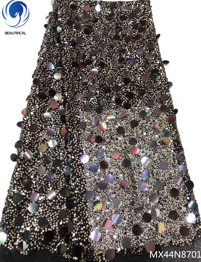 Belle paillettes tulle dentelle fabircs lacets brillants tissus tulle dentelle africaine lacets tissus pour femmes robe 5 yards/lot MX44N87
