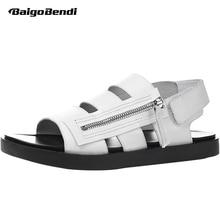New Men's Sandals Roman Gladiator Sandals Side Zipper Trend Leather Hook Loop Sandals Summer Leisure Shoes Man black cutout crisscross side zipper sandals