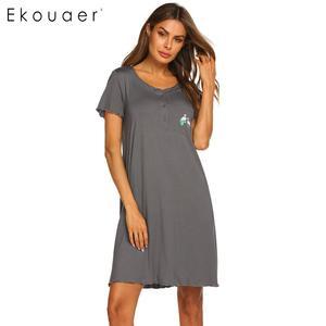 Image 4 - Ekouaer Summer Nightgown Women Sleepwear Dress O Neck Short Sleeve Front Button Pocket Decoration Chemise Night Dress