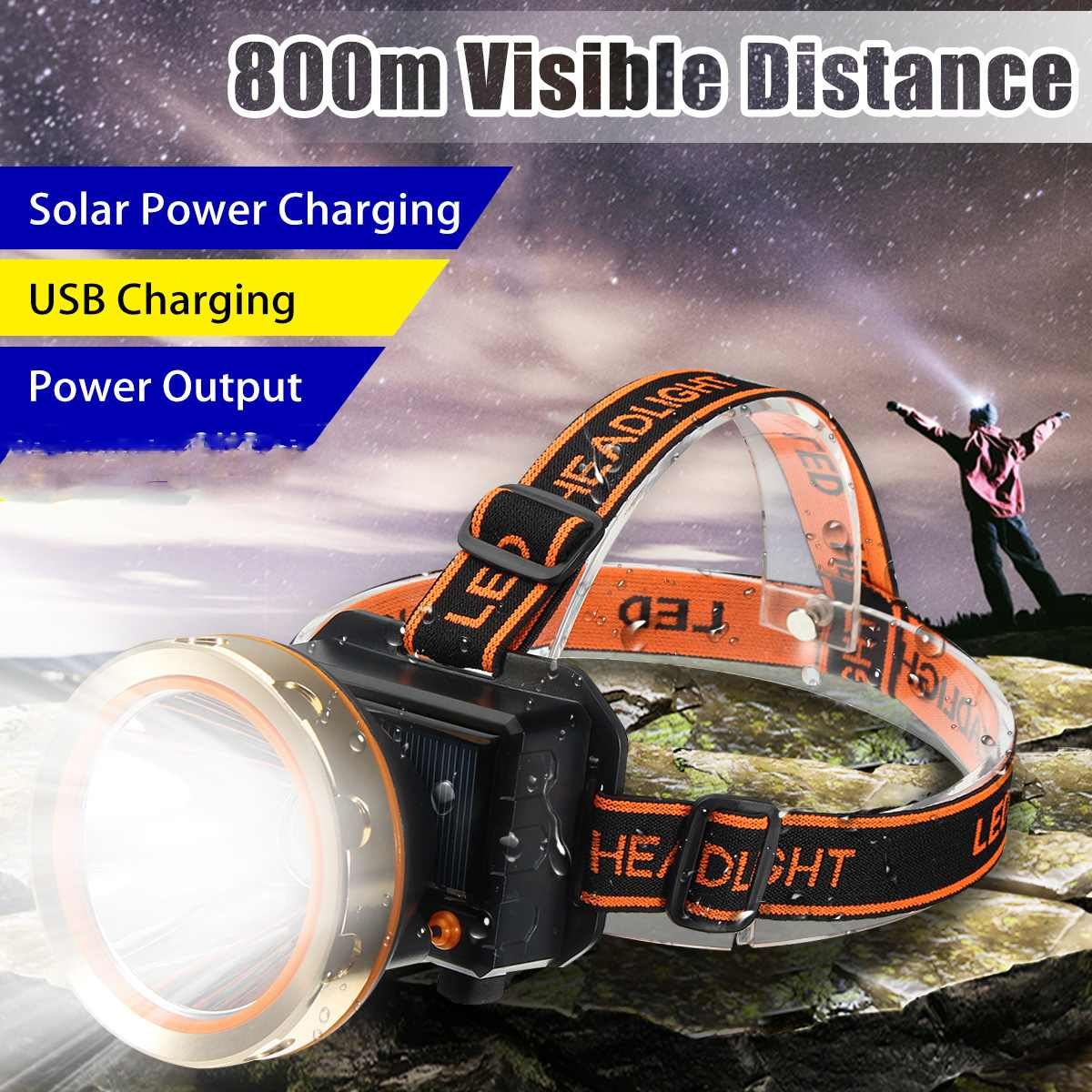 T6 5X LED Headlight Headlamp Zoom 80000LM Rechargeable Toch Fishing Lamp GA