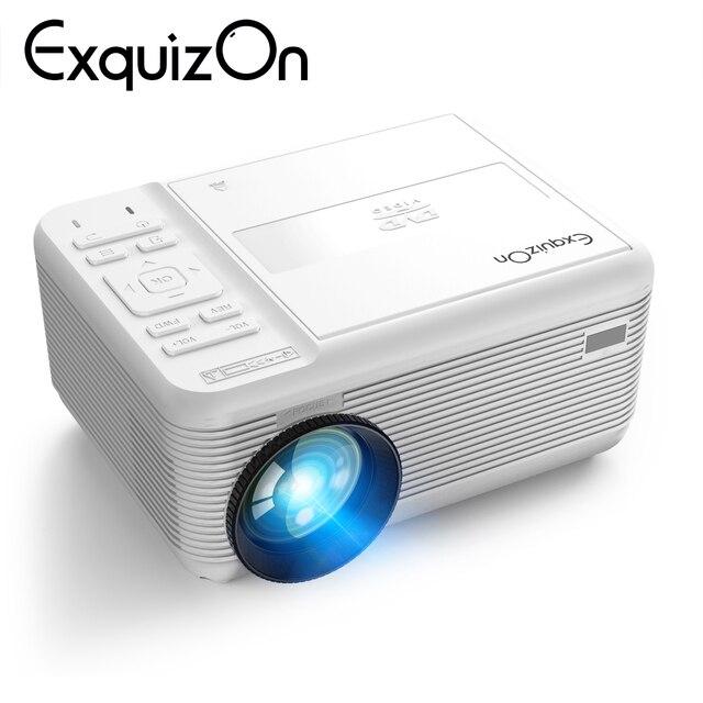 Exquizon 최대 1920*1080 p dvd 프로젝터 led tv 휴대용 hd 비머 홈 시네마 지원 dvd/vcd/cd 디스크 기능 usb tf hdmi av