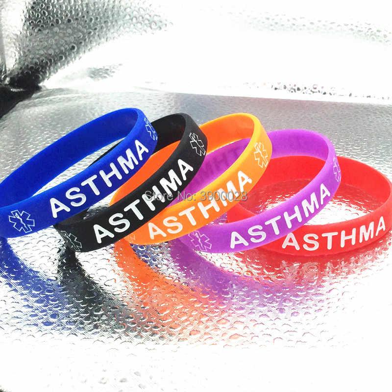 ASTHMA ALERT MEDICAL wristband silicone bracelet bangle gift AWARENESS