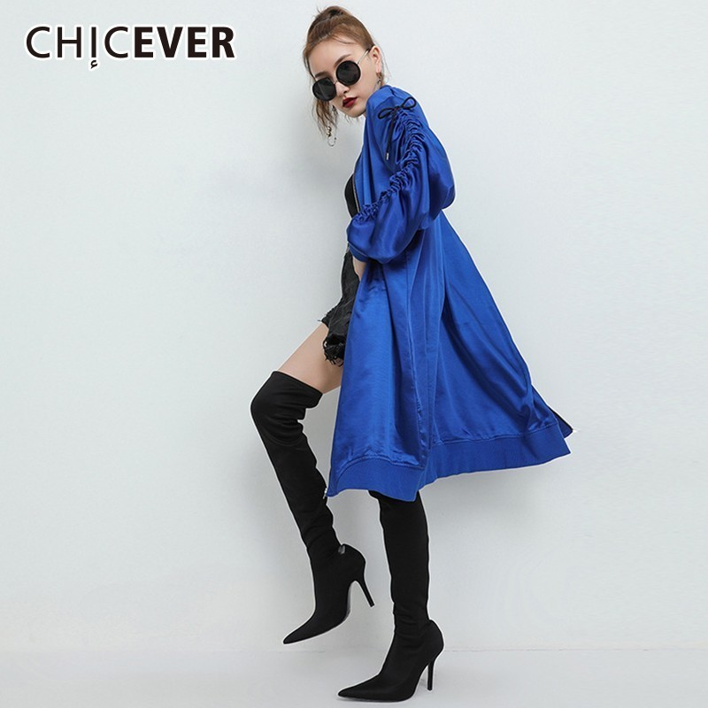 CHICEVER Print   Trench   Coat For Women's Windbreaker Casual Drawstring Bow Lace Up Zipper Coats Female Fashion Clothing Tide 2018