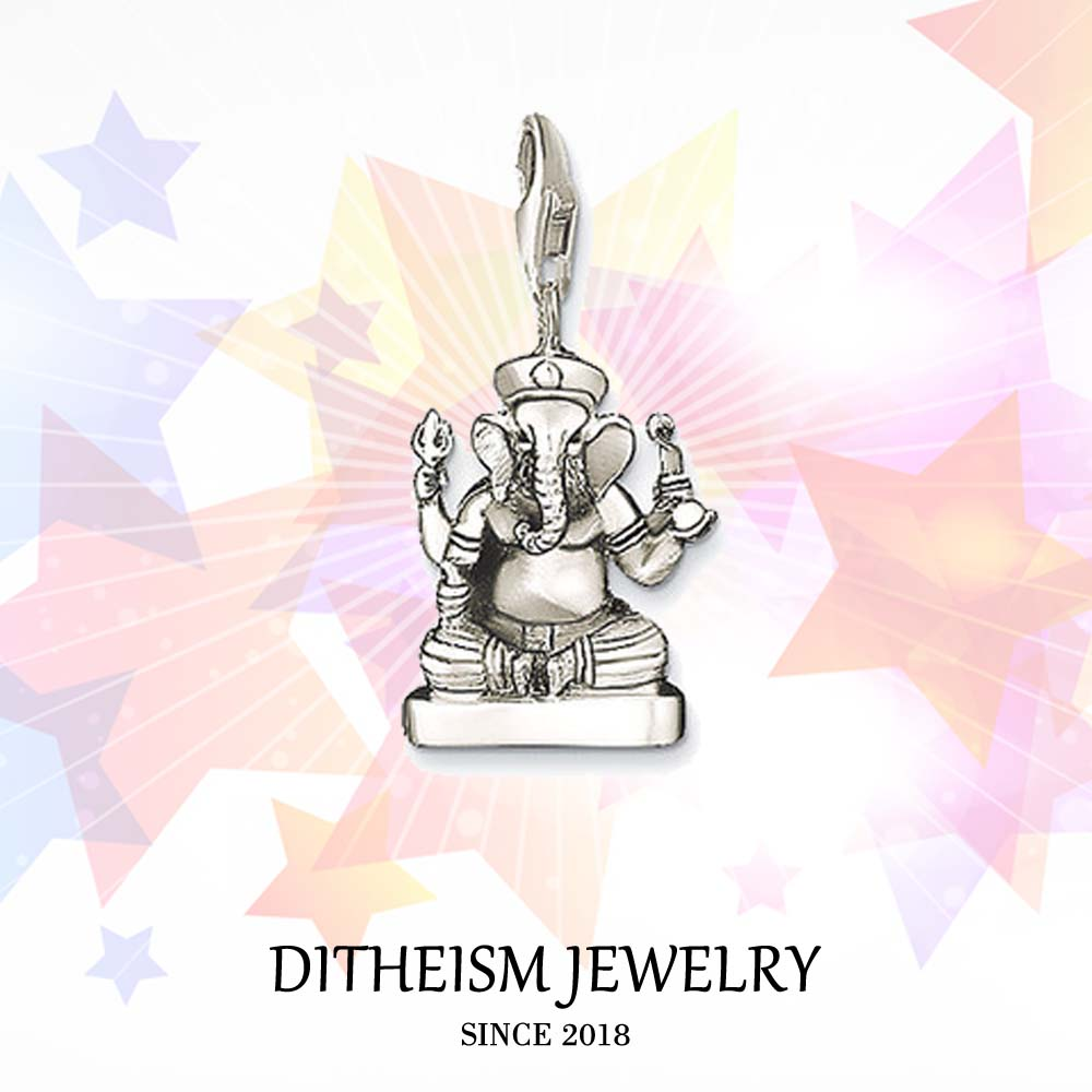 Ganesha Charms Pendant,2018 Jewelry 925 Sterling Silver Hinduism Gift For Women Men Boy Girls Fit Bracelet Necklace Bag