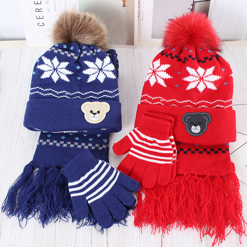 Child scarf hat gift new boy glove sets children Christmas snowflake and for