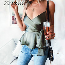 Xnxee Elegant wrap camisole tank top women V neck strap satin crop top female peplum Summer sleeveless shirt sexy ladies tops laser cut sleeveless peplum top