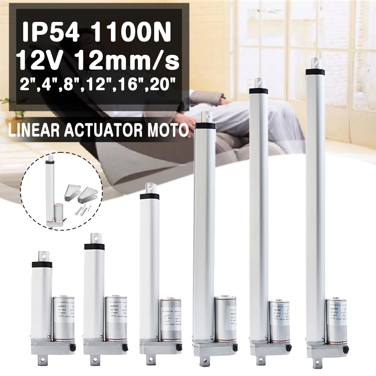 IP54 1200N 12V 9mm/s Small DC Electric Push Rod White Material Aluminum Alloy  For lectric Self Unicycle Scooter Input VoltageIP54 1200N 12V 9mm/s Small DC Electric Push Rod White Material Aluminum Alloy  For lectric Self Unicycle Scooter Input Voltage