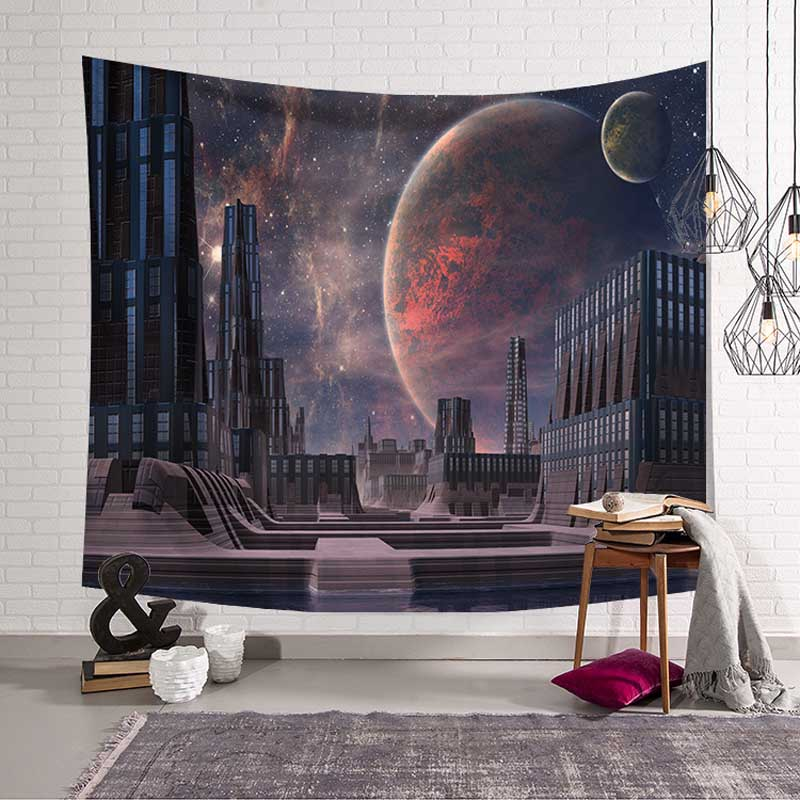 Newest Mandala Tapestry Boho Decor Moon Bulb Wolf Hippie Wall Tapestry Witchcraft Wall Hanging 3D Psychedelic Bohemian Bedspread